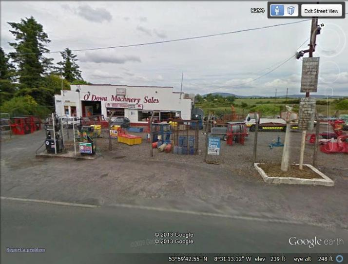 Thanks to Google Earth... O'Dowd's, where I bought my Lada. No more Ladas on the lot and doesn't look like one of your fancy American car dealerships, now does it?